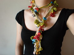 Lonicera Periclymenum ... Freeform Crochet Scarflette (irregular expressions) Tags: pink blue red orange brown flower green art yellow necklace leaf beige colorful handmade burgundy maroon crochet expressions indigo jewelry creme accessories lariat etsy fiber irregular freeform flowery scarflette irregularexpressions