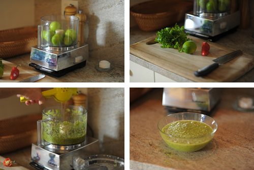Making tomatillo salsa by Cookthink