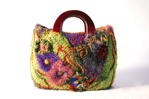 Floral freeform bag with padded leaf motifs