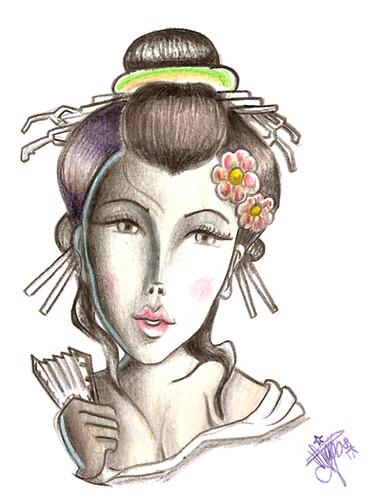 Gueixa 01 Ilustrao em lpis aquarela tattoo artist de gueixa