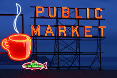Seattle Glow (www.toddklassy.com) Tags: neon public market sign pikeplacemarket fishmarket coffee cup fish fresh produce stockphotography seattlewashington seattle washington wa cityfishmarket glow nationallandmark lattice roof outdooradvertising westernphotographer toddklassy pugetsound publicmarket farmersmarket business bluesky dramaticsky morning evening night dusk dawn store food meat freshwaterfish streetmarket washingtonstate shopping preparedfish historic tourism travel visit supermarket saltwaterfish wharf retail wholesale advertisement billboard neonsign famous editorial editorialphotography horizontal colorimage urbanscene city cityofseattle internationallandmark usa illuminated cityscape buildingexterior downtown pacificnorthwest darkblue scenics calendarphoto cupofcoffee famousplace