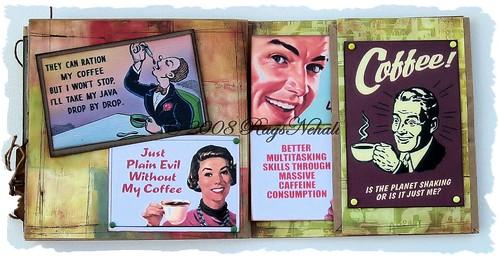 """""""Coffee"""" Humorous Retro Paper Bag Altered Art Album"""