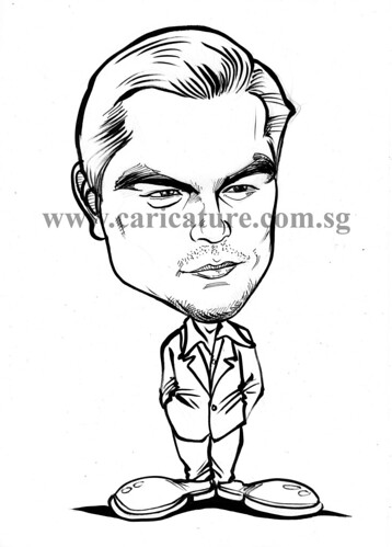 Celebrity caricatures - Leonardo Dicaprio ink watermark