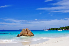 Postcard from Seychelles (jendayee) Tags: blue sea sky beach rock clouds boats sand sunny seychelles granit abigfave pralin theunforgettablepictures rubyphotographer