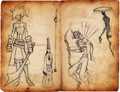 old samurai story sketches (jonpon3) Tags: old hair ghost tribal sword samurai archer sketches spectre enoch polearm funnhat
