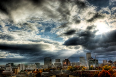 the city that shines (Squid Vicious) Tags: sky cloud clouds sunrise portland downtown canoneos20d portlandoregon canonef2470mmlusm hdr fav10 photomatix