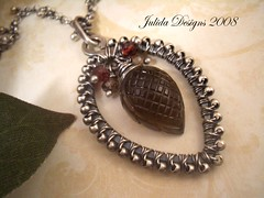 Autumn Adorned (julidadesigns) Tags: metal stone necklace leaf jewelry chain pendant oxidized smokeyquartz sterlingsilver redbrown wirewrapped briolette wireartisansguild teamwireartisans tundrasapphire