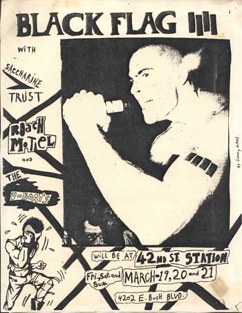 Black Flag, Saccharine Trust punk hardcore flyer