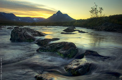 The flow of river Pltsan (Rob Orthen) Tags: longexposure autumn sunset sky sun fall clouds suomi finland river landscape nikon rocks europe searchthebest sundown d70 sweden hiking august rob explore lapland sverige scandinavia hdr maisema lappi syksy thenorth joki vaellus ruotsi photomatix elokuu orthen realistichdr pltsan roborthenphotography paltsan keltainentaivas