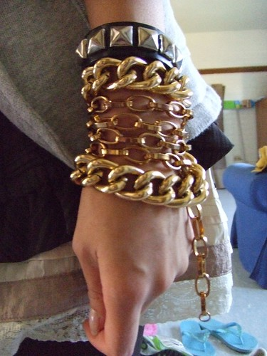 Thick and thin gold chain necklaces (worn as bracelet), thrifted; Studded Leather Cuff, Hot Topic