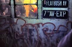 gm_03630 Flatbush Avenue Subway Graffiti, New York City 1976 (CanadaGood) Tags: nyc newyorkcity usa ny newyork color colour analog america subway graffiti manhattan slidefilm seventies 1976 canadagood exactlocationuncertain agfaperuchrome slidecube