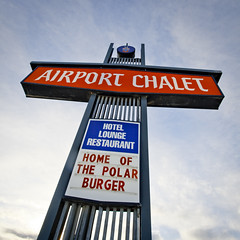 home of the polar bear  burger (eyebex) Tags: wild food sign delete10 restaurant hotel words saveme deleteme10 lounge letters yukon change spoof 37 climate squarecrop warming whitehorse 010 global cool3 eatlocally airportchalet homeofthepolarburger uncool7