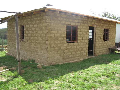 The new dining room / drop-in center. Its made out of mud bricks.