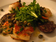 Scallops, black pudding and capers