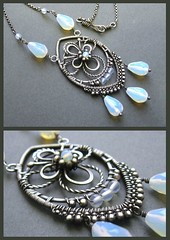 opalite and silver necklace