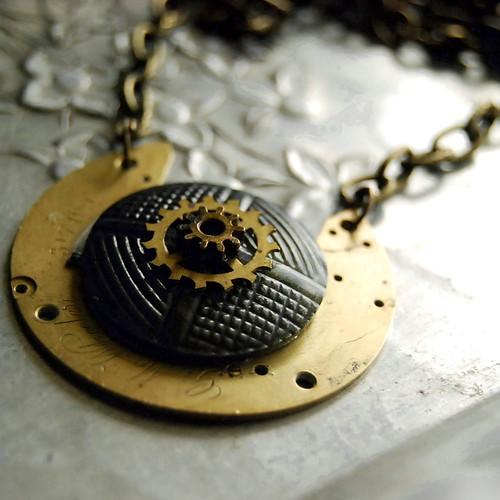 G. M. Wheeler Steampunk Vintage Button Necklace