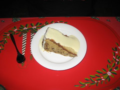 Traditional Christmas Morning Food- Cake with sauce