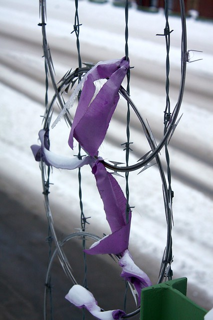 ice, razor wire