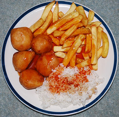 sweet and sour chicken balls (Number Johnny 5) Tags: chinese takeaway tea chicken balls rice chips gorleston food sauce squircle tasty plate sweet sour dinner batter fries