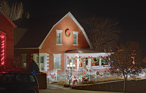 Christmas decorations on a house in Hermann, Missouri, USA