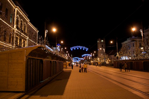 Debrecen's main street at night