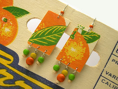 Naranjas Earrings (weggart) Tags: wood necklace recycled earrings oranges naranjas orangecrate ecochic alternativematerialjewelry weggart printedwood