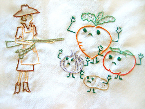 Veggie Hold Up Embroidery for Rectangel