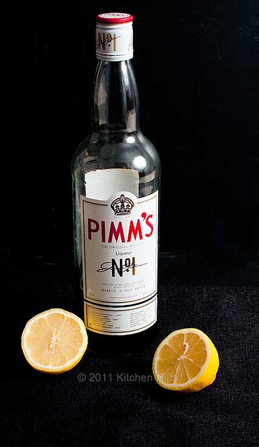 Ingredients for a Pimm's Cup:  Pimm's and lemons