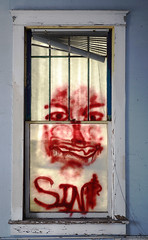 Sin Looking In (jeff.olson) Tags: windows red sign painting typography weird scary message homeless evil forsakenpeople westpalmbeach creepy sin devil disturbing ghostly forsakenplaces abandonedbuildings windowart psychological foundtext distrubia
