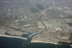 Above Seal Beach and Long Beach, California (cocoi_m) Tags: california sand delta highway1 pacificocean longbeach orangecounty pacificcoasthighway aerialphotograph sealbeach losangelescounty longshoredrift sangabrielriver californiacoastalgeology