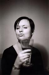 new years eve alison (the brownhorse) Tags: portrait blackandwhite glass drunk wine wife wineglass alison om1 olympusom1 mrsbrownhorse