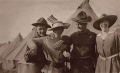 Advance Denied (Piedmont Fossil) Tags: woman smile soldier wwi tent worldwari laugh antiquephoto doughboy