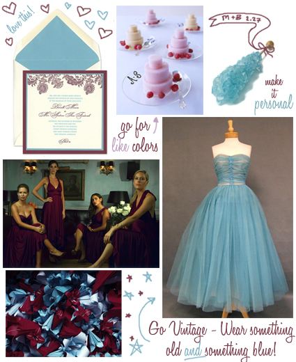 blue and maroon wedding inspiration board