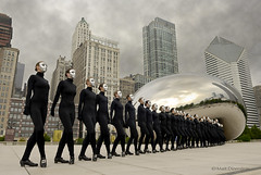 Cloud Gate 2 (one_sixtyith) Tags: chicago face skyline clouds dancers dream nightmare millenniumpark cloudgate drones irishdancers silverface