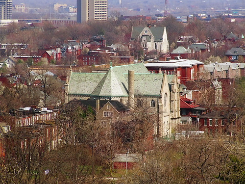 Former Saint Henry:Immaculate Conception Church, in Saint Louis, Missouri, USA from the Compton Hill Water Tower