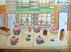 Pastries hanging out at Laduree in Paris