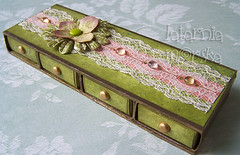 matchbox drawers (latarnia_morska) Tags: old pink white flower green glass brad glitter ink altered scrapbooking paper gold acrylic lace victorian pebbles cardboard drawer chic prima matchbox shabby matchboxes
