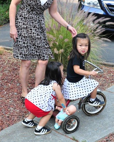 Ree's first time pedaling! (with a little push from her sister)