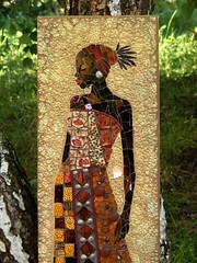 Black Princess - detail (stiglice - Judit) Tags: mosaic mixedmedia wallart blackprincess mozaik