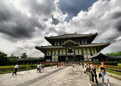Todai-ji Temple, Nara, Japan (` Toshio ') Tags: vacation sky people building japan architecture clouds religious temple asia path buddha buddhist religion tourists nippon nara hdr nihon toshio daibutsuden todaijitemple aplusphoto woodenhall narasgreatbuddha