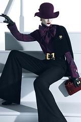 Purple__FC__spotshow309 (tuxedoDE) Tags: blouse gloves tieneck leatherglovesleather