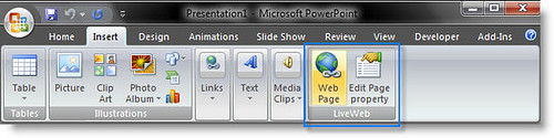 LiveWeb in PowerPoint 2007