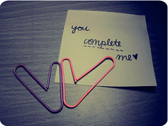 you complete me. (Kristine May.) Tags: pink purple sticky explore midnight iloveyou paperclips ilovehim myhandwriting youcompleteme tookmeforevertoeditthisoned