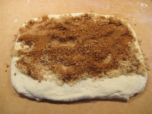 cinnamon roll making
