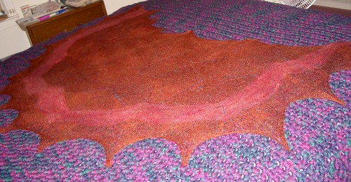 petal shawl being blocked.jpg