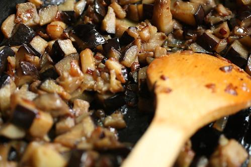 Sauteing the eggplant
