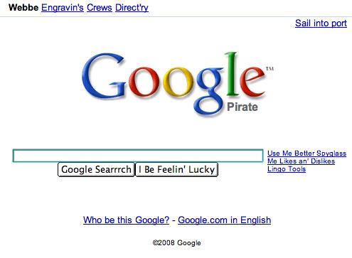 Google & Talk Like a Pirate Day