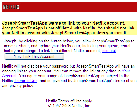 Netflix OAuth authorization page