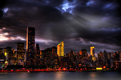 standing tall (Tony Shi.) Tags: new york city ny skyline night skyscraper standing island long cloudy manhattan eastriver tall hdr midtownmanhattan        anawesomeshot nikond700 goldstaraward    thnhphnewyork