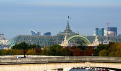 Paris, depuis le pont des Arts: le Grand Palais (en arrire, La Dfense) (Marie-Hlne Cingal) Tags: paris seine architecture pont quai riverseine quais